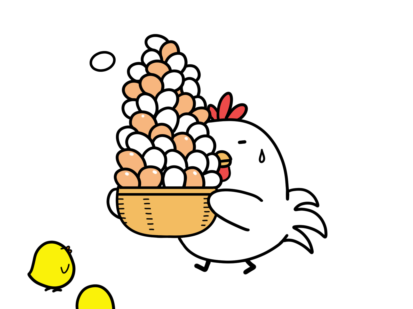 卵をかかえる鶏
